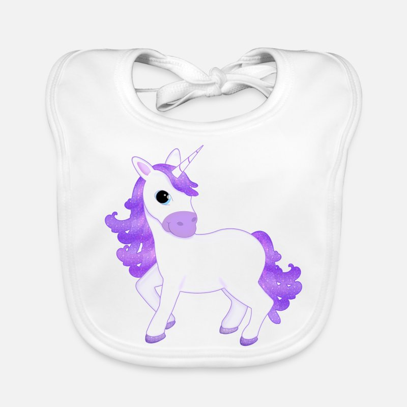 Unicorn Baby Clothing - Pretty Purple Unicorn Cartoon - Baby Bib white