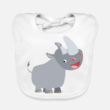 Rhinoceros Cute Happy Cartoon Rhinoceros by Cheerful Madness!! - Baby Organic Bib