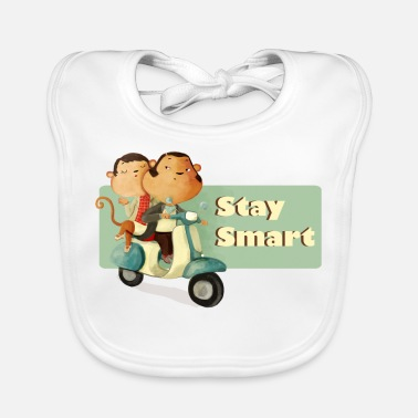 Scooter Stay Smart Scooter Monkeys Buttons - Baby Bib