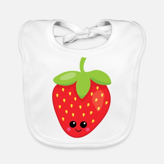 New Baby Clothes - strawberry - Baby Bib white