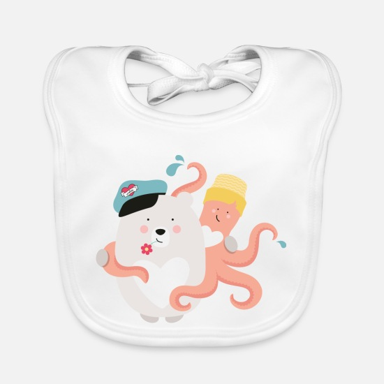 Collection For Kids Baby Clothes - BEAR OCTFRIENDSOPUS - Baby Bib white