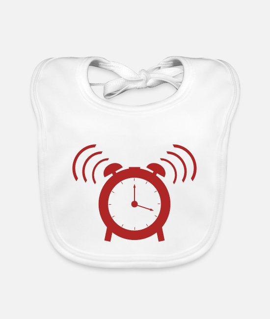 Clock Baby Clothes - alarm clock - Baby Bib white