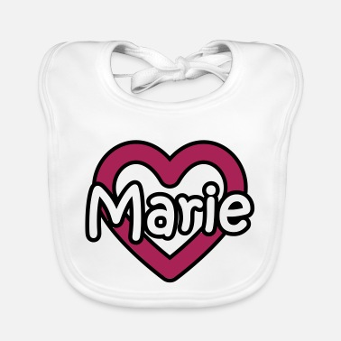 Name Day Marie last name first name maiden name heart name day - Baby Bib