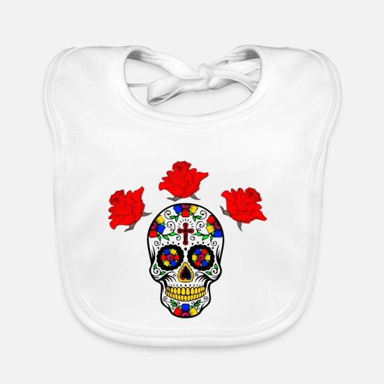 Birthday Baby Clothes - Skull roses - Baby Bib white