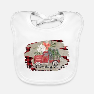 Decoration Black Friday Bound Vintage Truck Christmas Trees - Baby Bib
