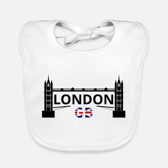 Big Ben Baby Clothes - London Tower Bridge GB - Baby Bib white