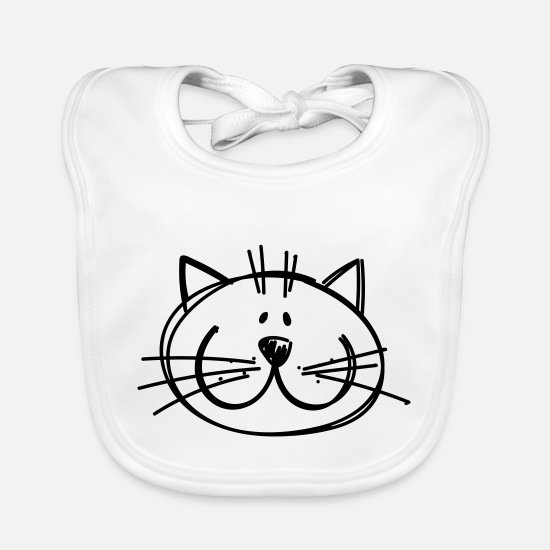 Cat Lady Baby Clothes - Cat drawing - Baby Bib white