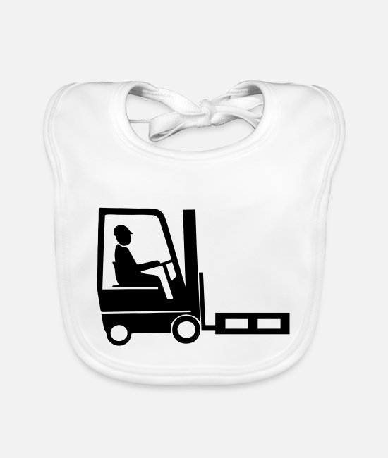 Truck Driver Baby Clothes - forklift driver - Baby Bib white