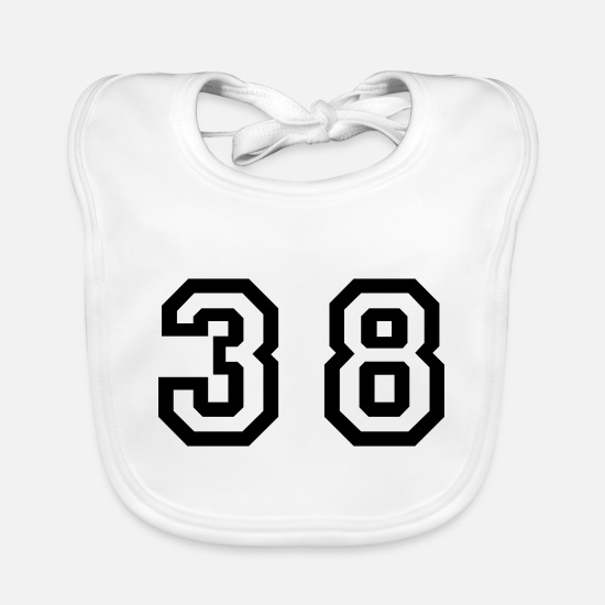 Number Baby Clothes - Number - 38 - Thirty Eight - Baby Bib white