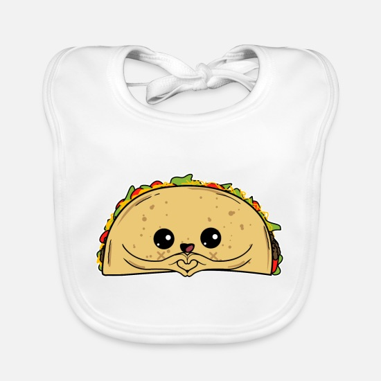 Central America Baby Clothes - Love - sweet Taco Taco Mexican food Fiesta - Baby Bib white