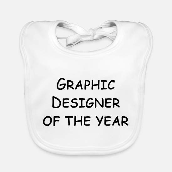 Designer Baby Clothes - graphic designer of the year - Baby Bib white