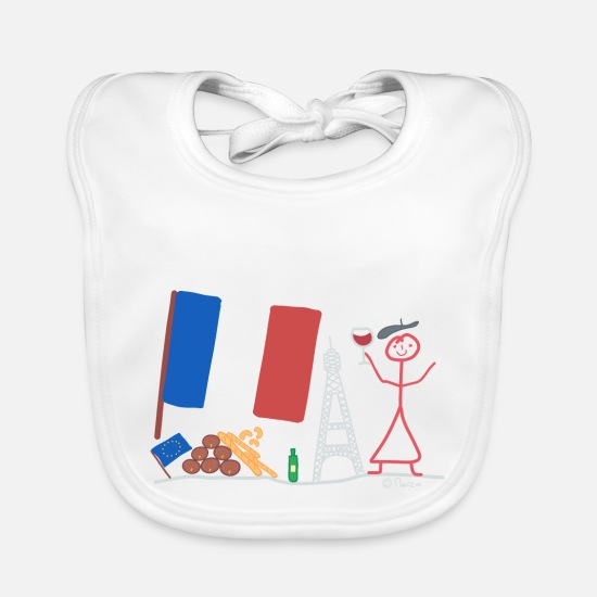 Barrel Baby Clothes - France stick figure country nation wine - Baby Bib white