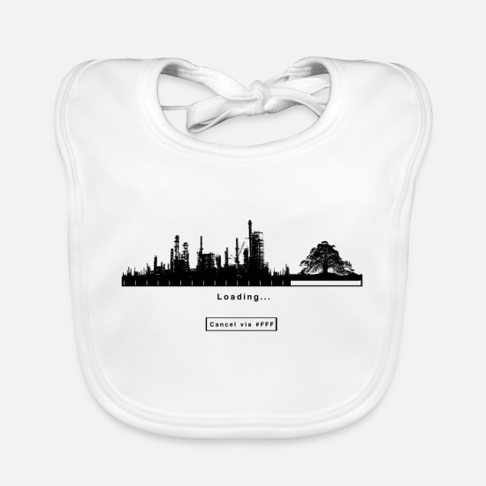 Gift Idea Baby Clothes - FFF Fridays For Future Green Greter Gift Eco - Baby Bib white