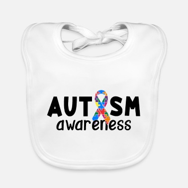 Awareness Ribbon Autism Awareness Ribbon Puzzle Pieces - Baby Bib