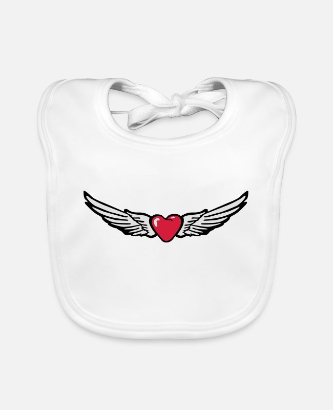 Heart Baby Bibs - Wings Heart Love - Baby Bib white