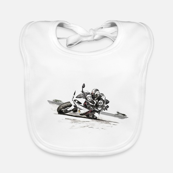 Motorcycle Baby Clothes - motorcycle - Baby Bib white
