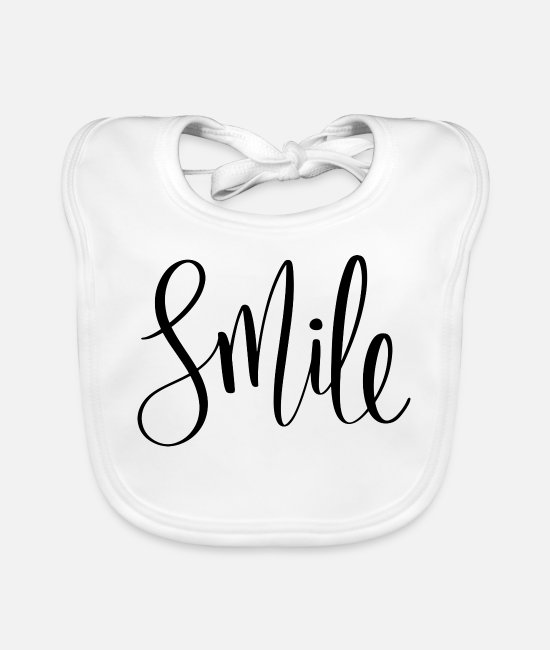 "Grin Baby Bibs - ""Smile"" smile laugh gift gift idea - Baby Bib white"