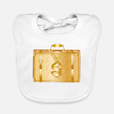 Deluxe golden luxury suitcase with golden dollar sign - Baby Bib