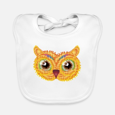 Jewelry abstract owl head made of floral shapes - Baby Bib