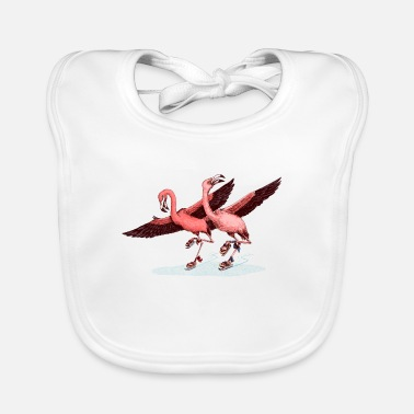 Love Collection V2 flamingo ice skaters - Baby Bib