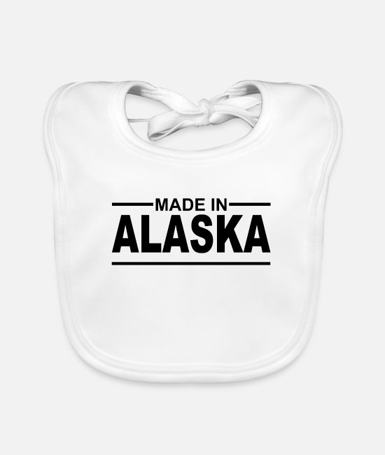 Usa Baby Clothes - Made in Alaska - USA - Anchorage - Inuit - Baby Bib white