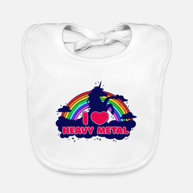 Rock N Roll I love heavy metal unicorn hard rock hard rock - Baby Bib