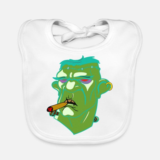 Birthday Baby Clothes - Gangster, Frankenstein, Halloween - Baby Bib white