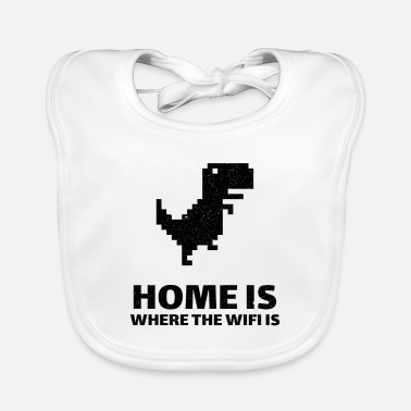 Home is where there is internet. Wi-Fi dinosaur - Baby Bib