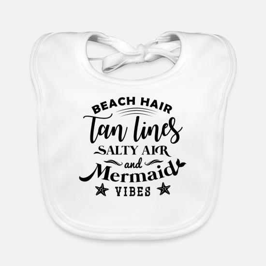 Typography Baby Clothes - Beach - Baby Bib white