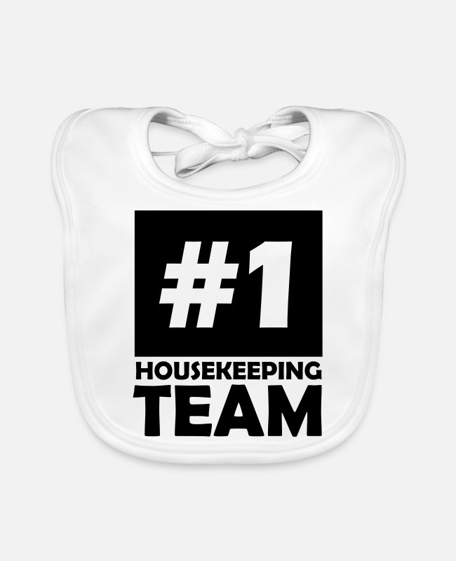 1 Baby Bibs - number one housekeeping team - Baby Bib white