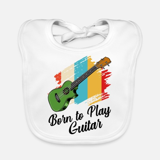 Guitar Player Baby Clothes - guitar - Baby Bib white