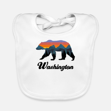 Outdoor Washington Bear Colorful Mountains Proud Camping Vintage - Baby Bib