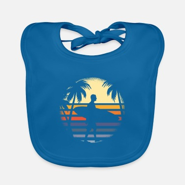 Circular Surfer with surfboard before sunrise with palm trees - Baby Bib