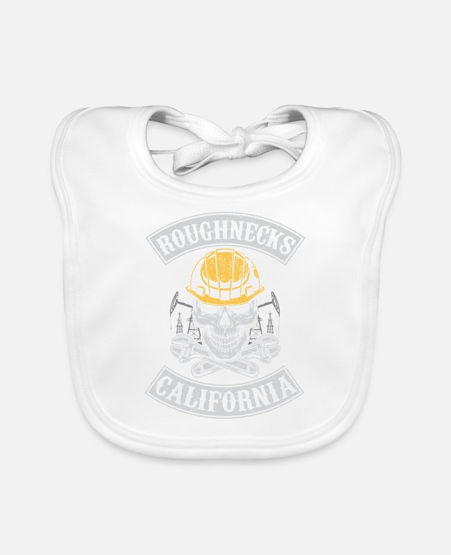 Grandpa Baby Bibs - Roughnecks california oilfield roughneck - oil rig - Baby Bib white