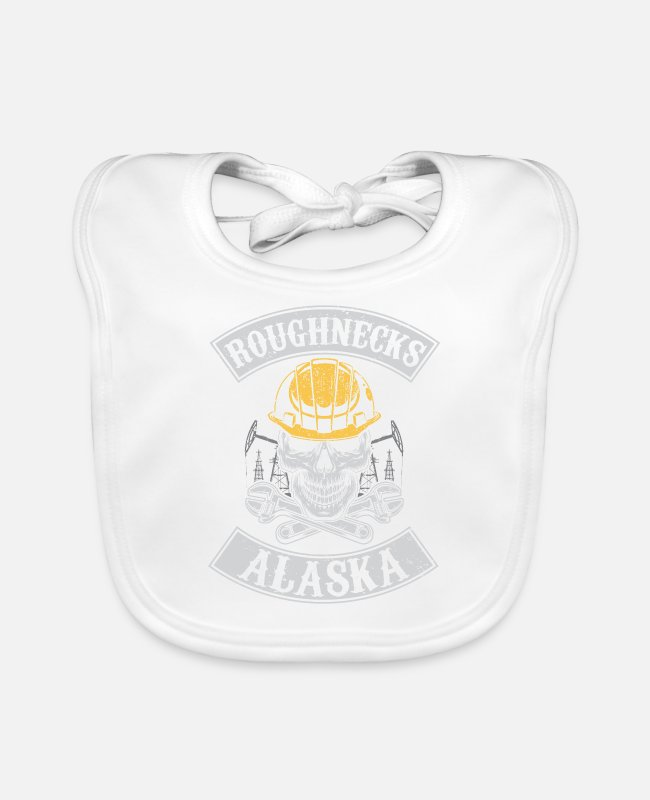 Grandpa Baby Bibs - Roughnecks alaska oilfield roughneck - oil rig - Baby Bib white
