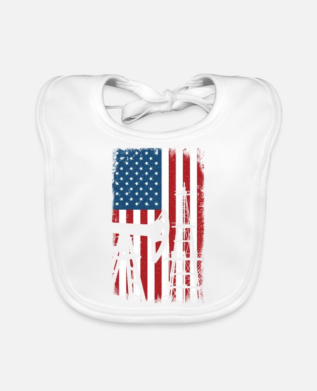 Grandpa Baby Bibs - American flag oilfield roughneck - oil rig worker - Baby Bib white