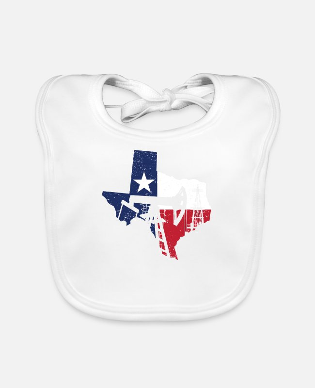 Grandpa Baby Bibs - Texas oilfield roughneck - oil rig worker gift - Baby Bib white