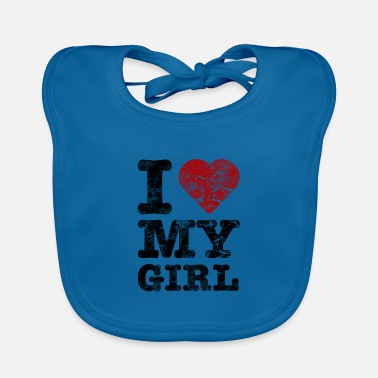 Friend I Love my Girl vintage dark - Baby Bib