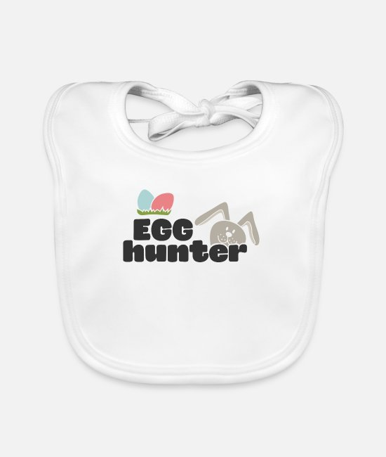 Easter Baby Clothes - Egg Hunter with two eggs - Baby Bib white