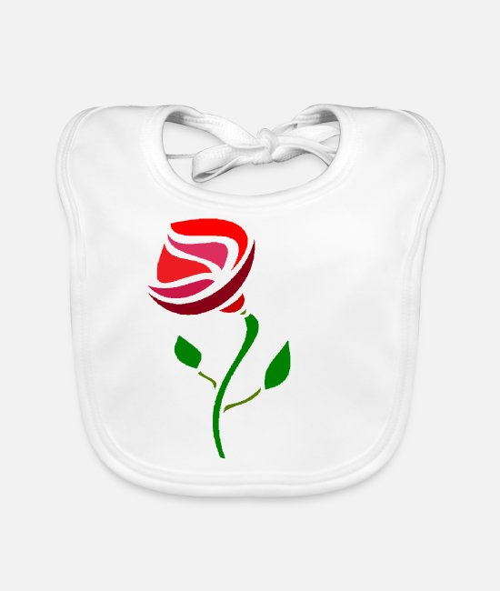 Beautiful Baby Clothes - Red rose - Baby Bib white