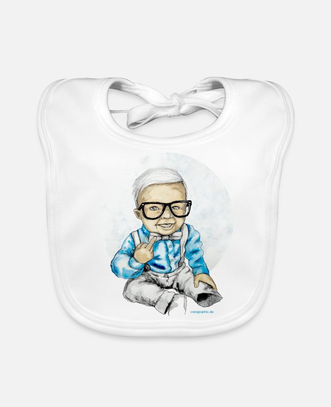 Middle Finger Baby Bibs - Naughty Boy - Baby Bib white