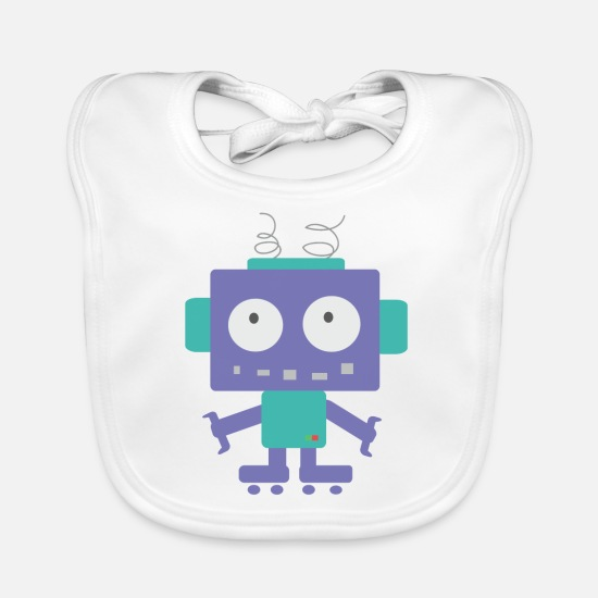 School Boys Baby Clothes - Cute Little Robot - Baby Bib white