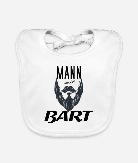 With Baby Clothes - man with Beard - Baby Bib white