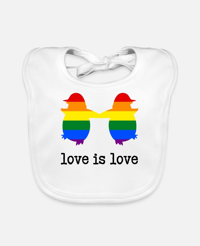 Gay Pulse Baby slabbetjes - Love is Love Penguin - Slabbetje wit