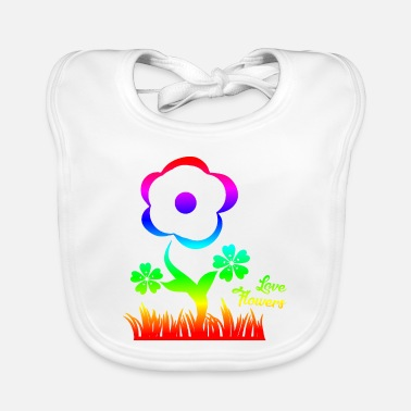 Love Flowers Colorful - Baby Bib