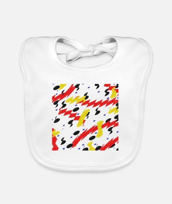 Red Baby Bibs - Art square 3 - Baby Bib white