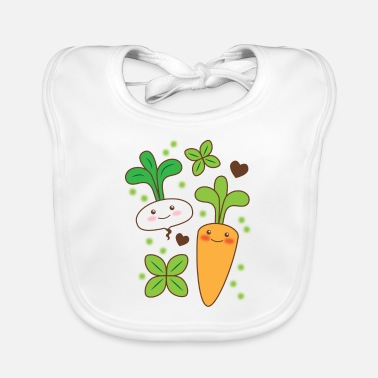 Kawaii Super cute kawaii turnip and carrot vegetables - Baby Bib