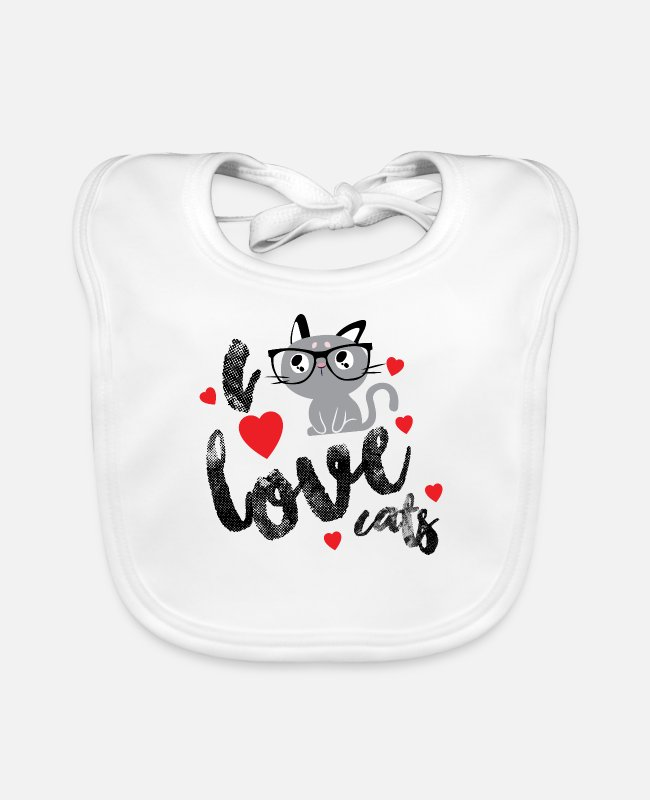 Cat Lady Baby Bibs - I Love Cats Shirt a must for every cat lady - Baby Bib white