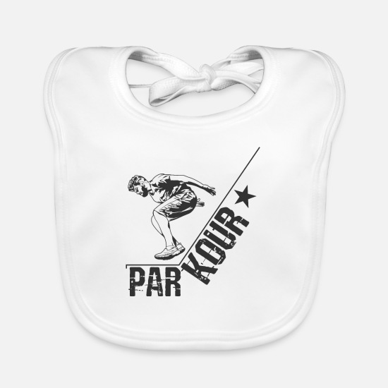Gift Idea Baby Clothes - Parkour - Baby Bib white