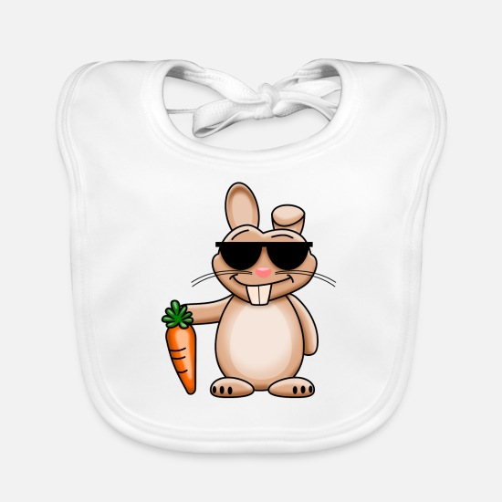 Grappige  Babykleding - Cool Rabbit - Slabbetje wit